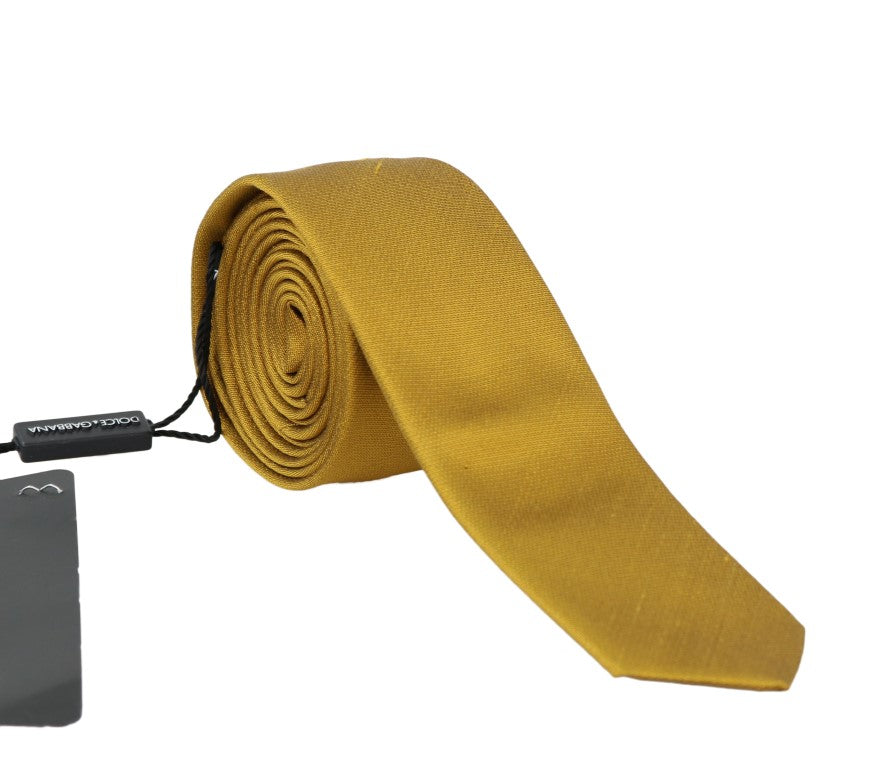 Yellow Silk Solid Slim Tie - EnModaLife.Com