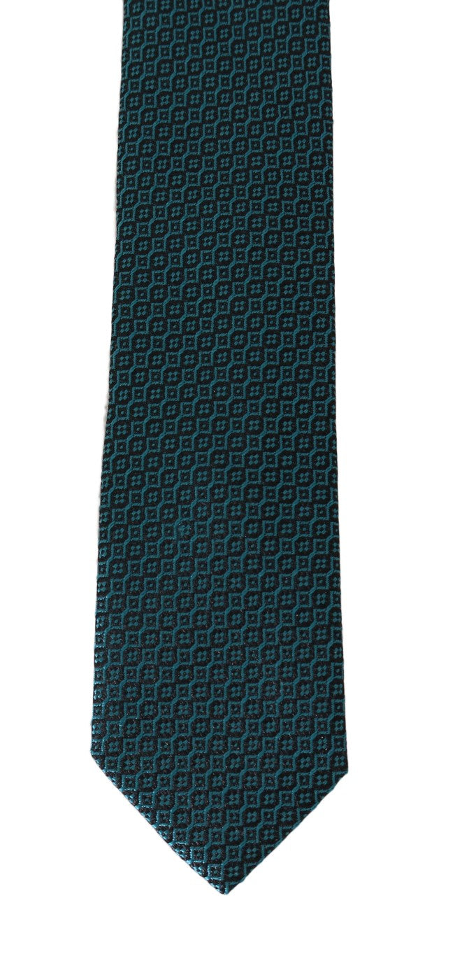 Black Aquamarine Silk Slim Tie - EnModaLife.Com