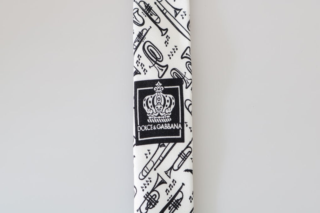 White Black Silk Music Print Slim Tie - EnModaLife.Com