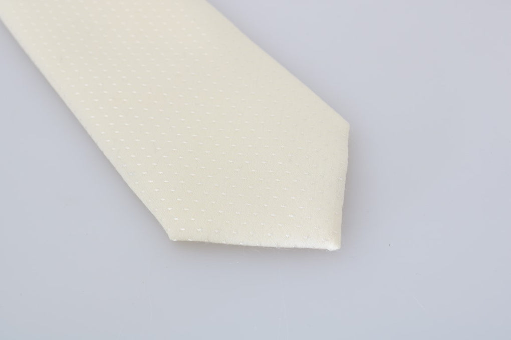 Ivory White Pattern Silk Classic Tie - EnModaLife.Com