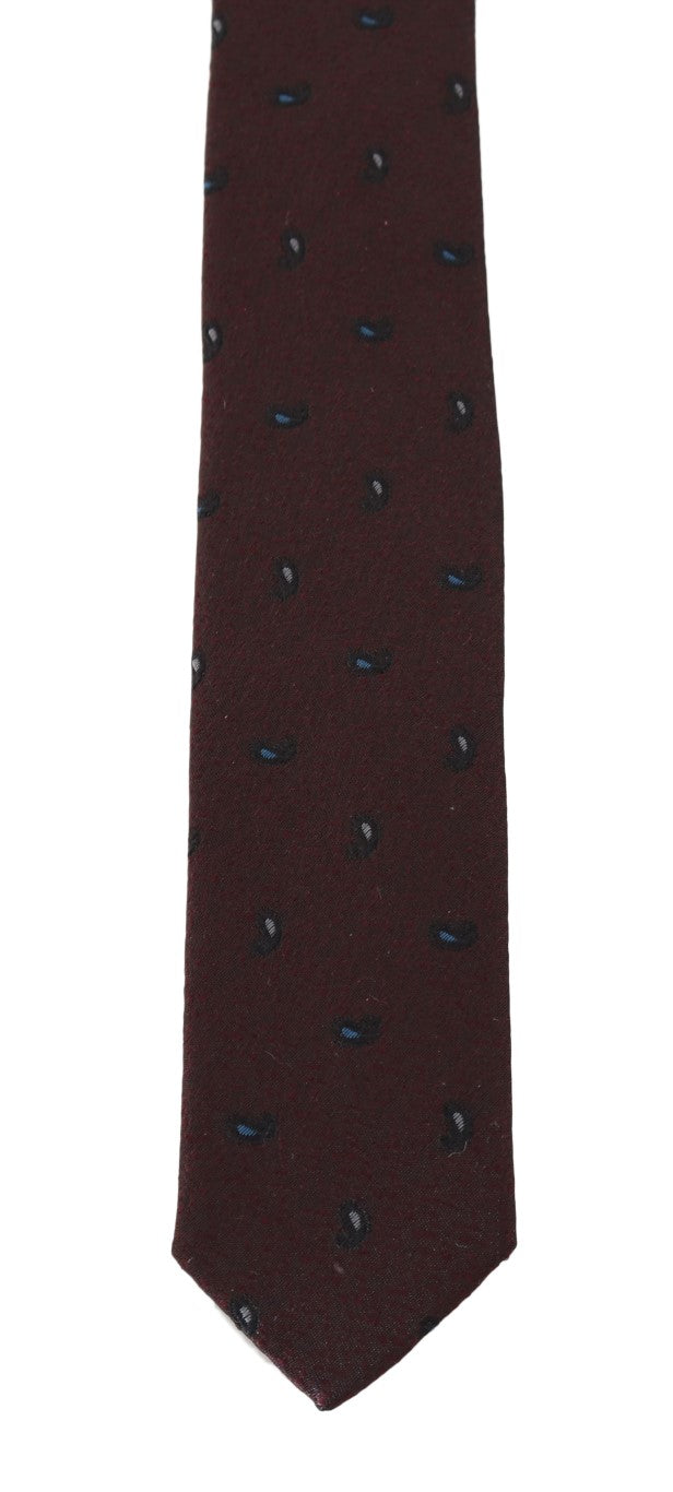 Bordeaux 100% Silk Pattern Slim Tie - EnModaLife.Com