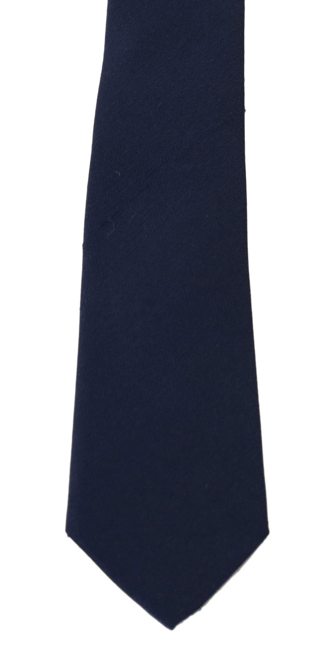 Blue Silk Solid Slim Tie - EnModaLife.Com
