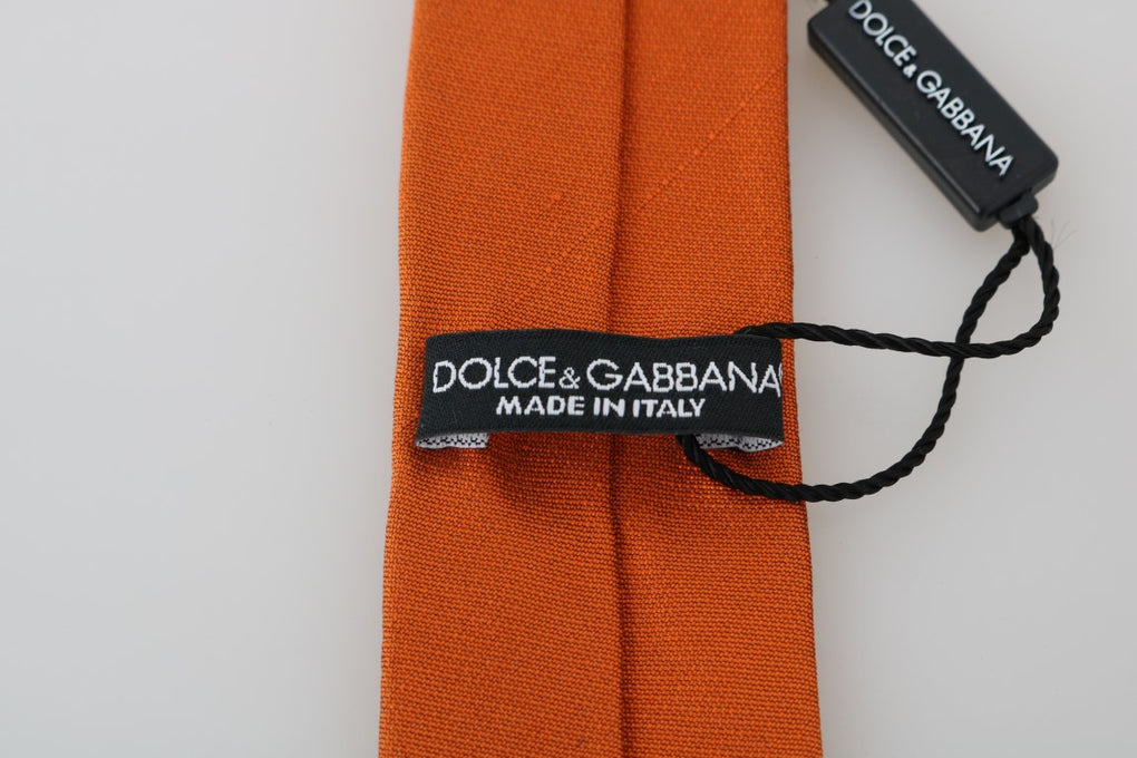 Orange Silk Solid Skinny Tie - EnModaLife.Com