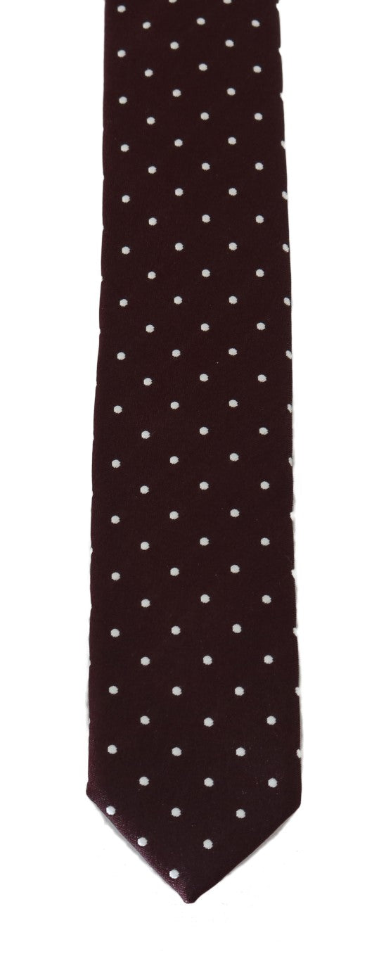 Bordeaux Silk Polka Dot Slim Tie - EnModaLife.Com