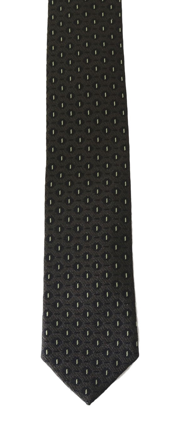 Black Brown Silk Pattern Skinny Tie - EnModaLife.Com