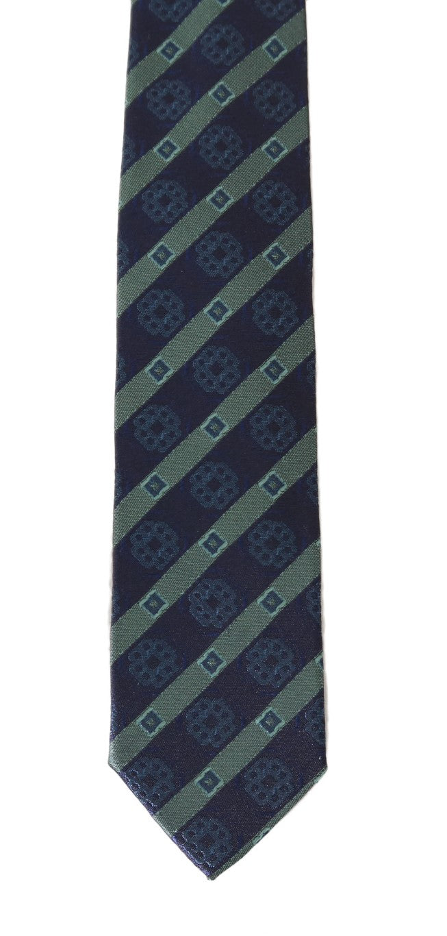 Blue Silk Striped Skinny Tie - EnModaLife.Com