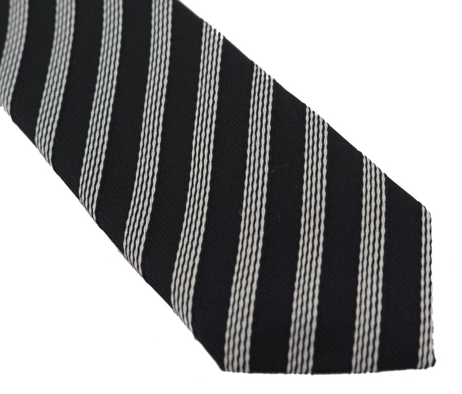 Black Silk White Striped Slim Tie - EnModaLife.Com