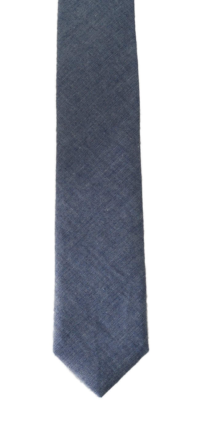 Blue Denim Cotton Solid Slim Tie - EnModaLife.Com