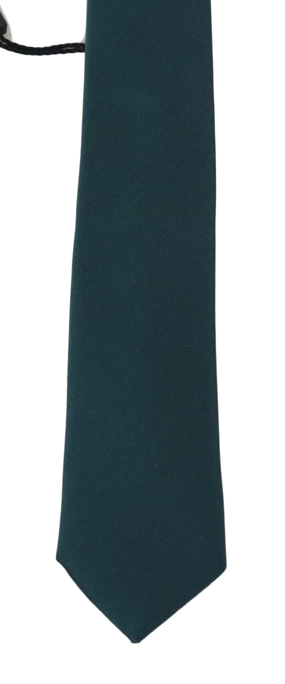 Green Silk Solid Slim Tie - EnModaLife.Com