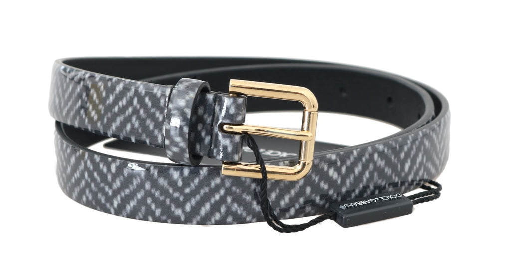 Black White Chevron Pattern Leather Belt - EnModaLife.Com