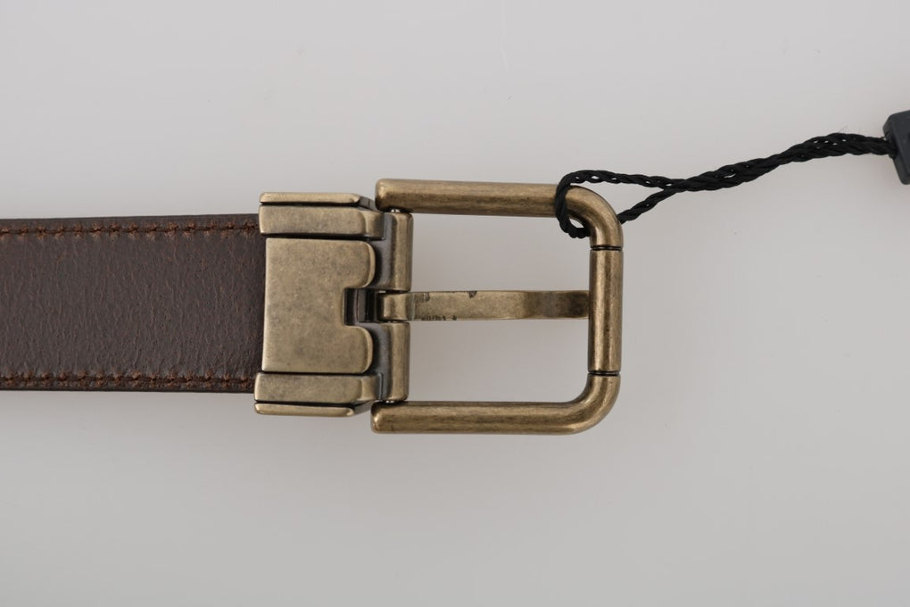 Brown Leather Gold Brushed Buckle Belt - EnModaLife.Com