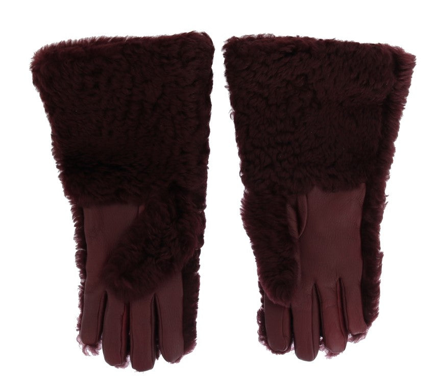 Bordeaux Leather Shearling Fur Gloves - EnModaLife.Com