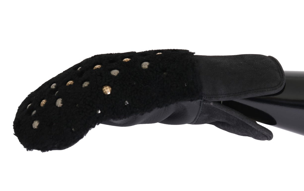 Black Leather Shearling Studded Gloves - EnModaLife.Com