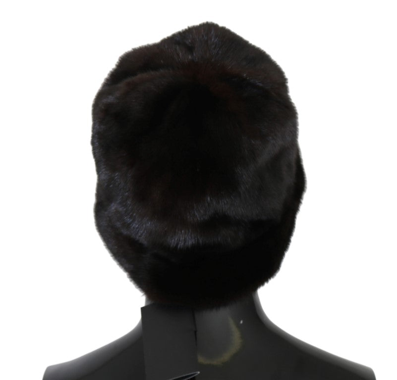 Brown Cashmere Mink Fur Hat - EnModaLife.Com