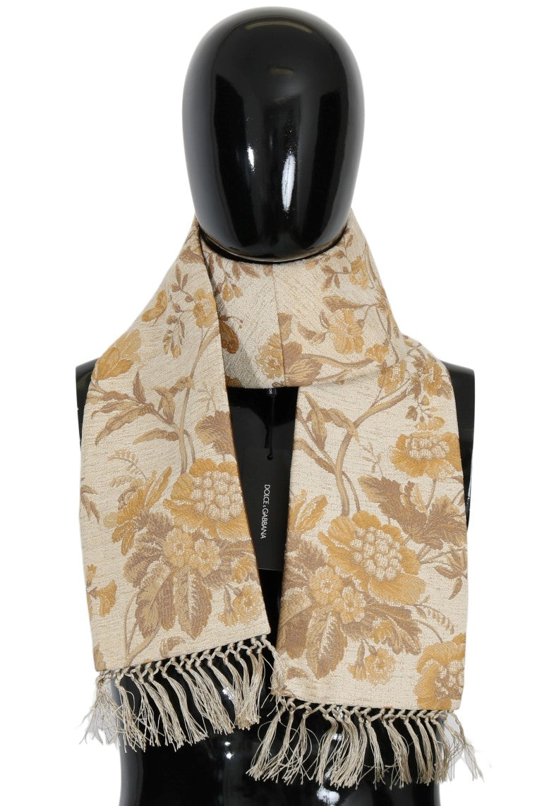 Beige Gold Jacquard Cotton Scarf - EnModaLife.Com