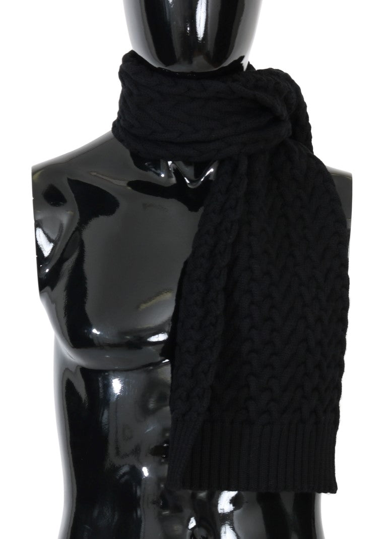 Black Wool Knitted Scarf - EnModaLife.Com