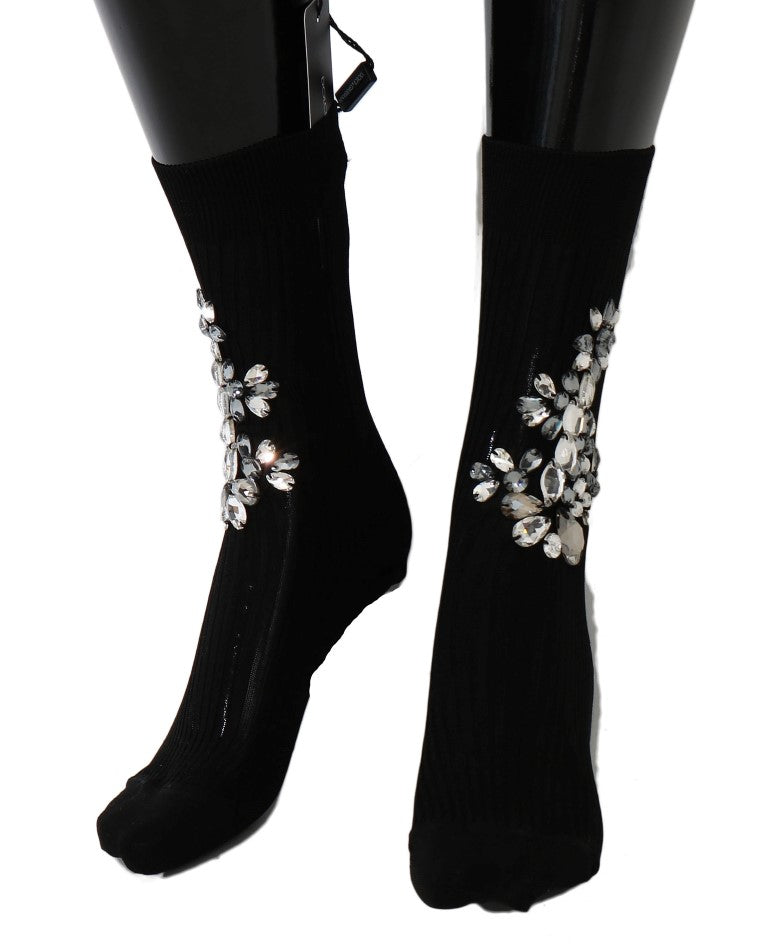 Black Knitted Floral Clear Crystal Socks - EnModaLife.Com