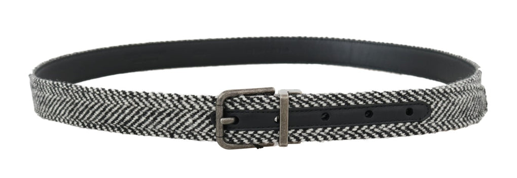 Black White Chevron Wool Leather Belt - EnModaLife.Com