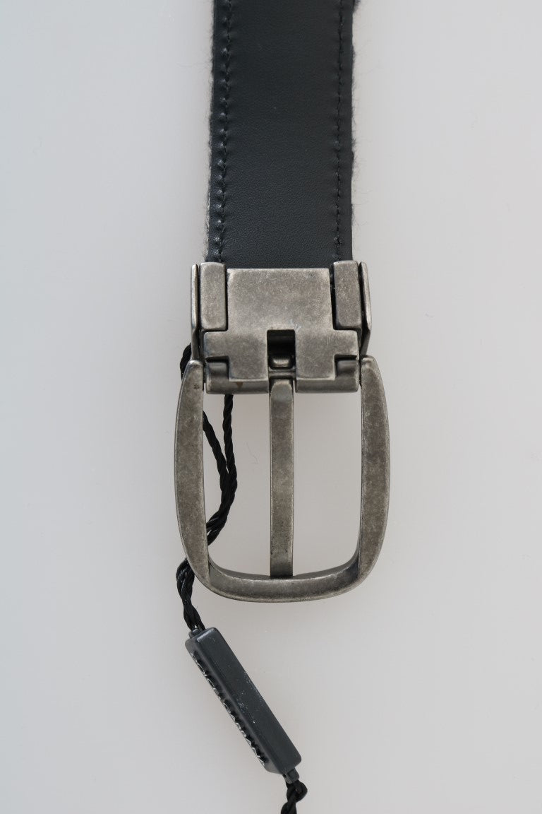 Black White Pattern Cotton Leather Belt - EnModaLife.Com