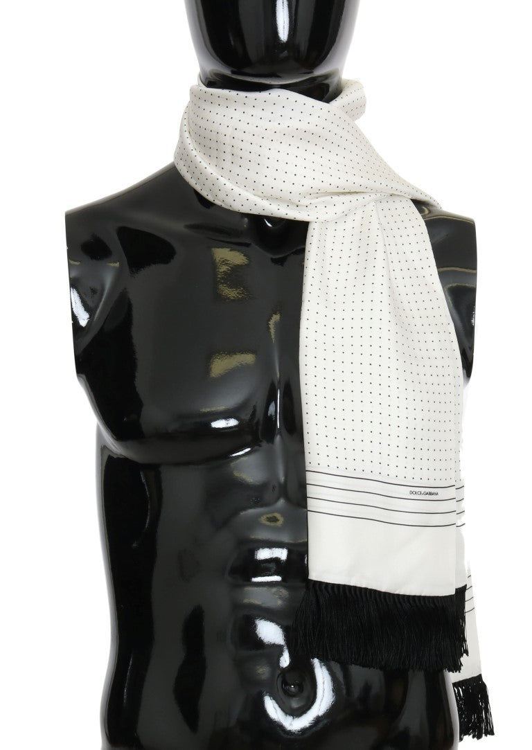 White Polka Dotted Silk Fringes Scarf - EnModaLife.Com