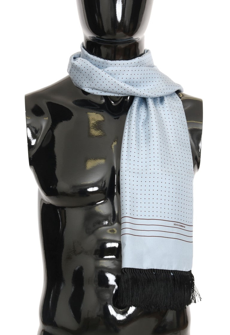 Blue Silk Fringes Scarf - EnModaLife.Com