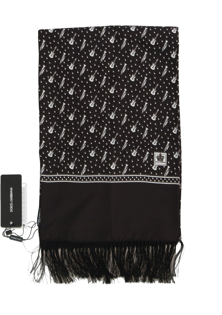 Brown Silk Instrument Fringes Scarf - EnModaLife.Com