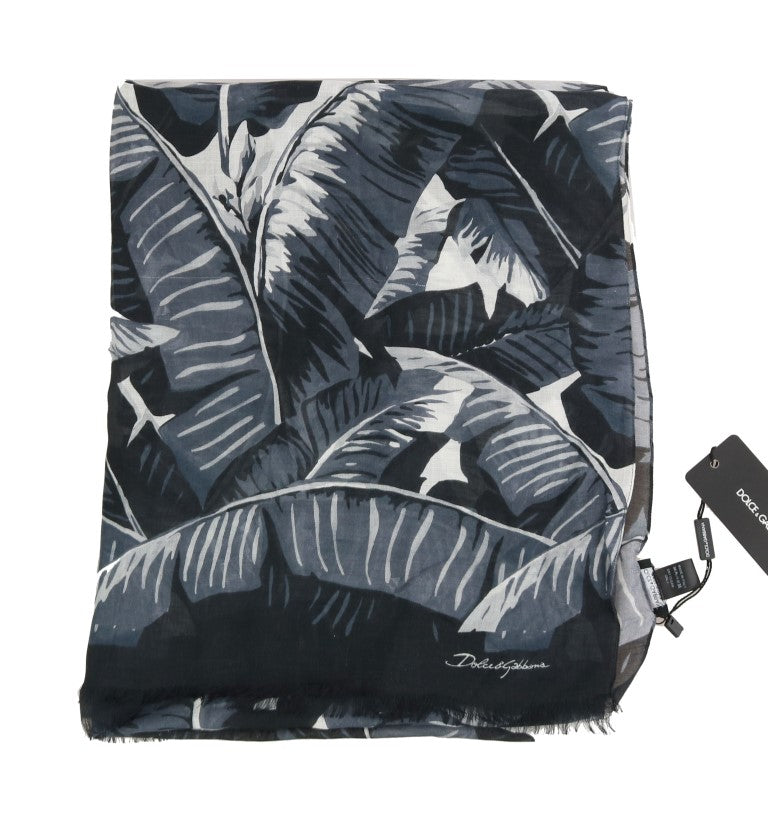 Black Gray Cashmere Leaves Print Scarf - EnModaLife.Com