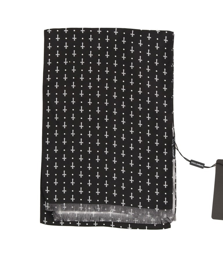 Black Silk White Cross Print Scarf - EnModaLife.Com