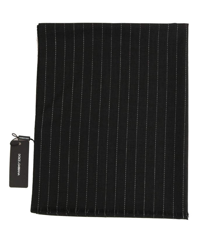 Dark Gray Wool Striped Pattern Scarf - EnModaLife.Com