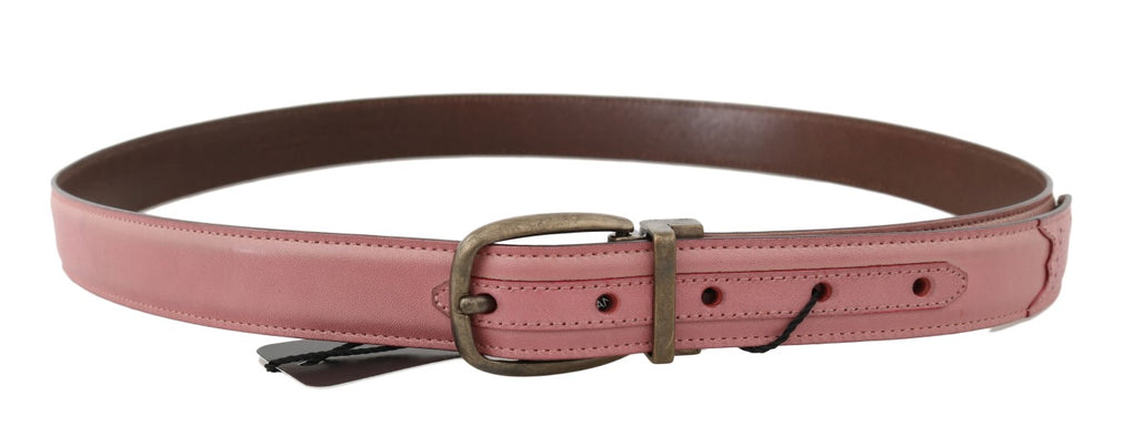 Pink Shiny Leather Gold Vintage Buckle Belt - EnModaLife.Com