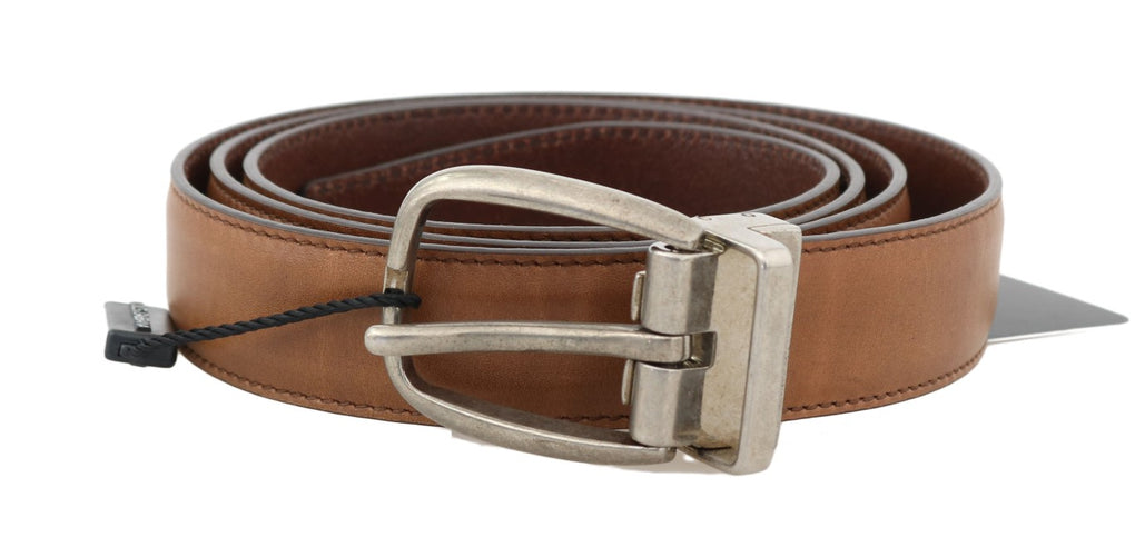 Brown Leather Gray Vintage Buckle Belt - EnModaLife.Com