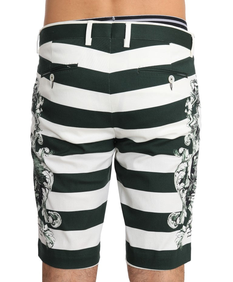 White Green Striped Cotton Shorts - EnModaLife.Com