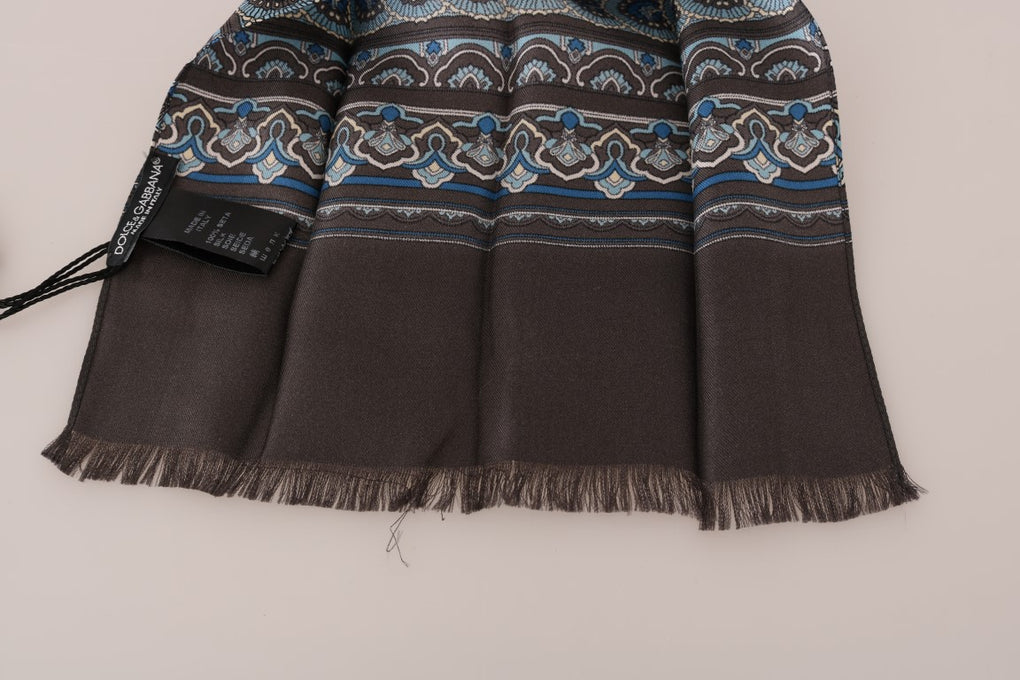 Gray Silk Blue Pattern Scarf - EnModaLife.Com