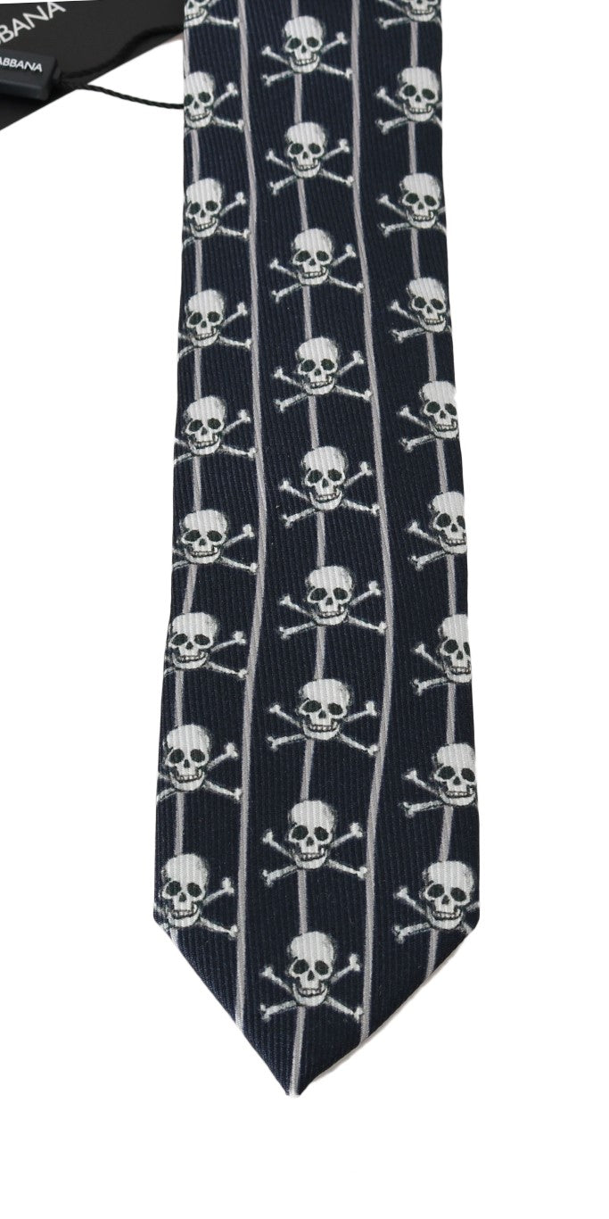 Blue Silk Skull Striped Print Tie - EnModaLife.Com