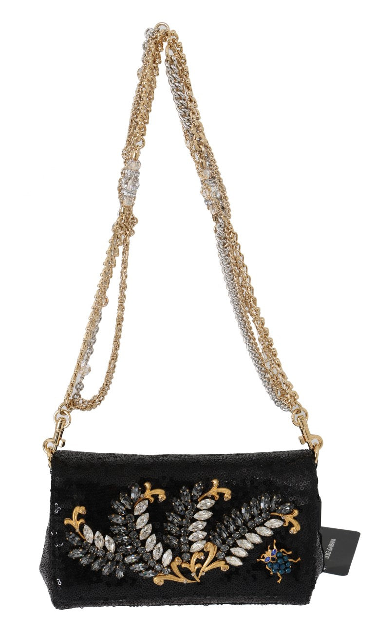 Black ANNA Sequined Crystal Clutch Bag - EnModaLife.Com