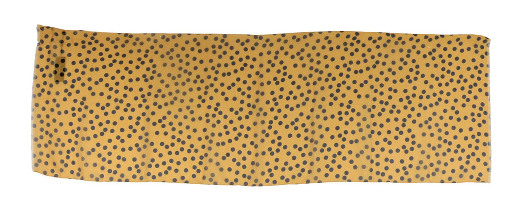 Yellow Black Polka Dotted Scarf - EnModaLife.Com