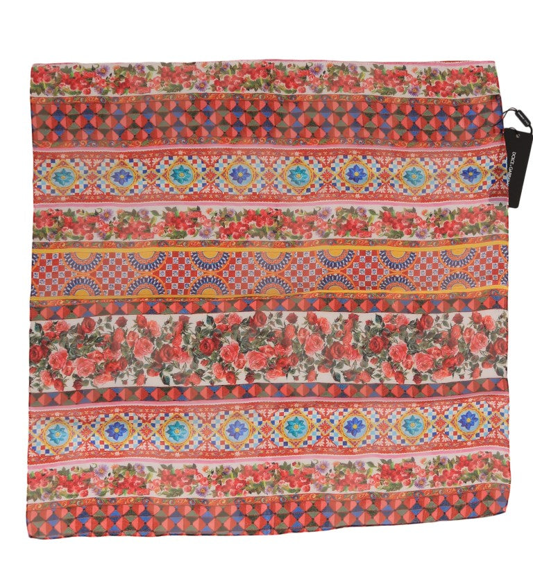 Multicolor Carretto Floral Silk Scarf - EnModaLife.Com