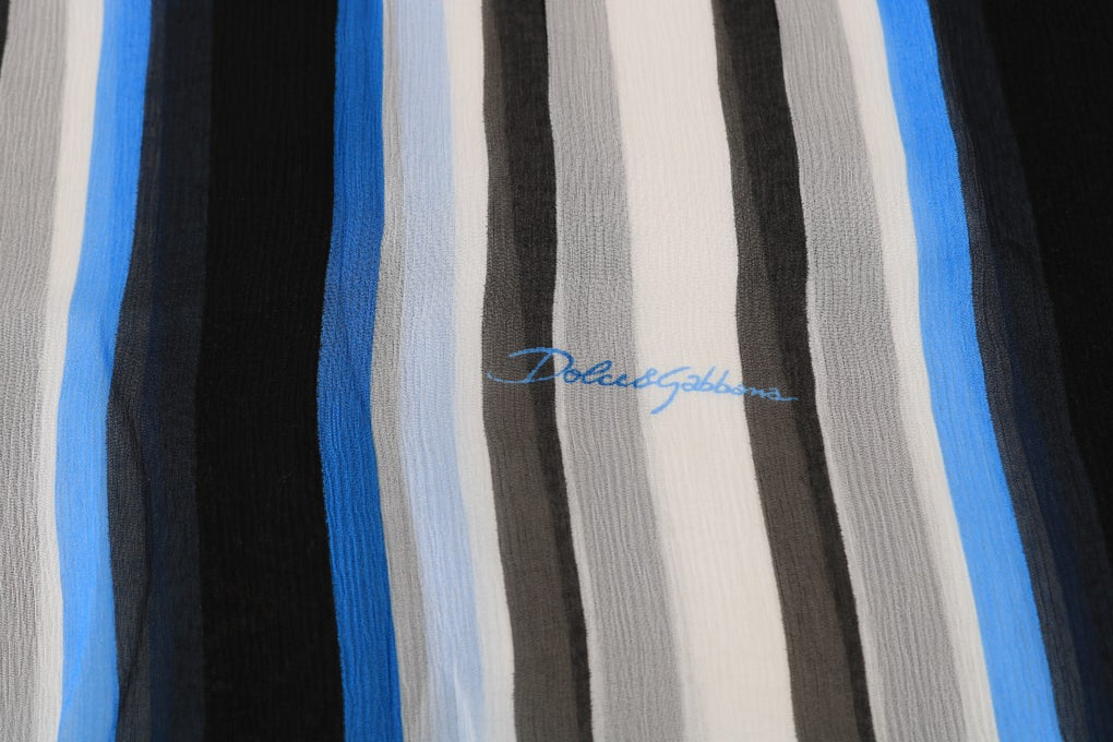Blue White Striped Silk Scarf - EnModaLife.Com