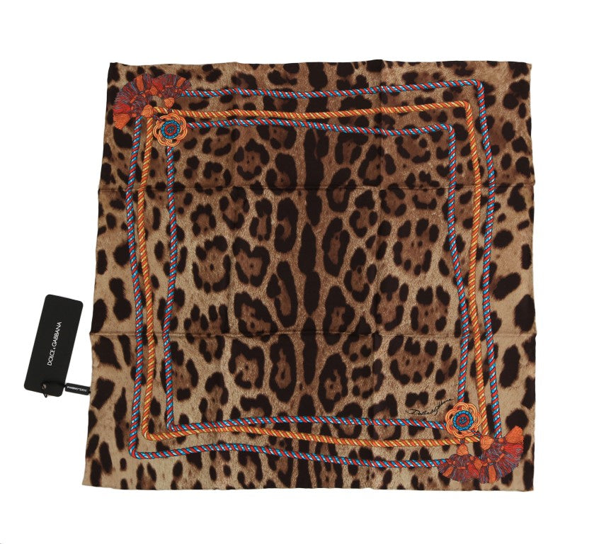Brown Leopard Silk Scarf - EnModaLife.Com