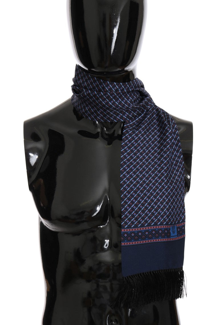 Blue Red Silk Patterned Scarf - EnModaLife.Com