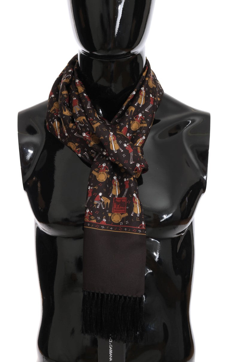 Brown Silk Music Print Scarf - EnModaLife.Com