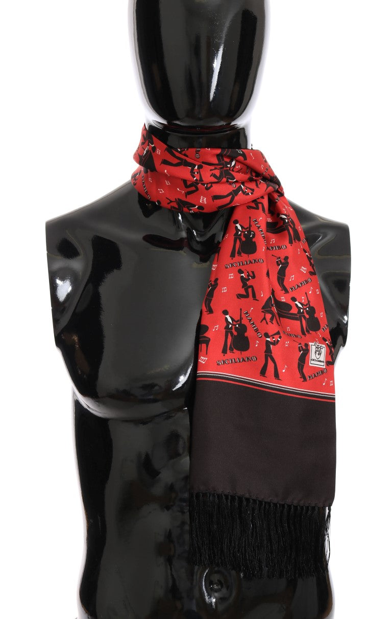 Red Silk Music Print Scarf - EnModaLife.Com