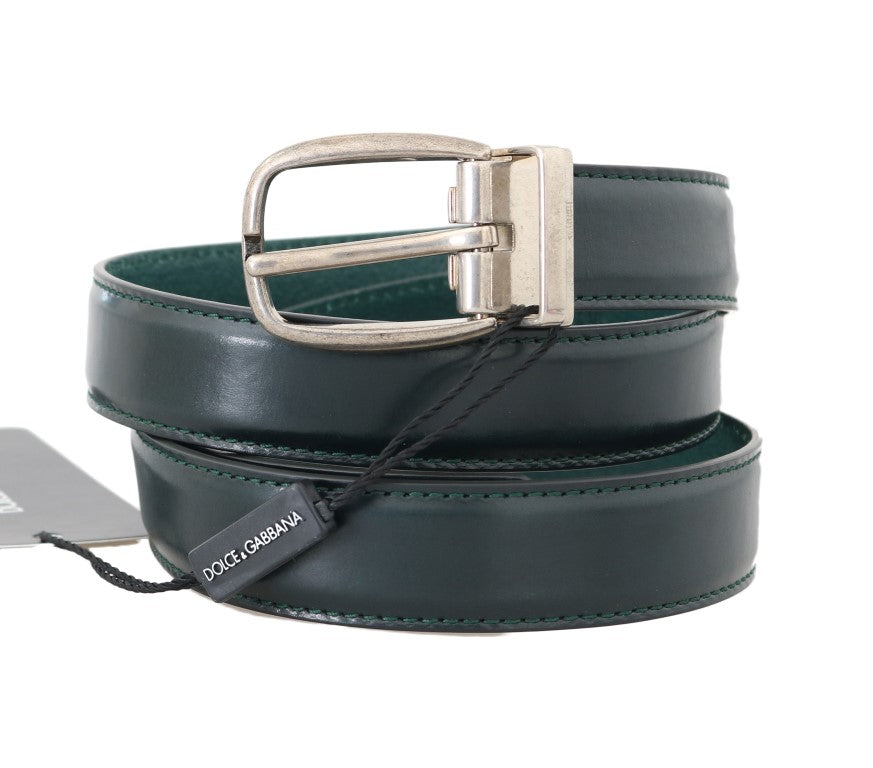 Green Leather Silver Buckle Belt - EnModaLife.Com