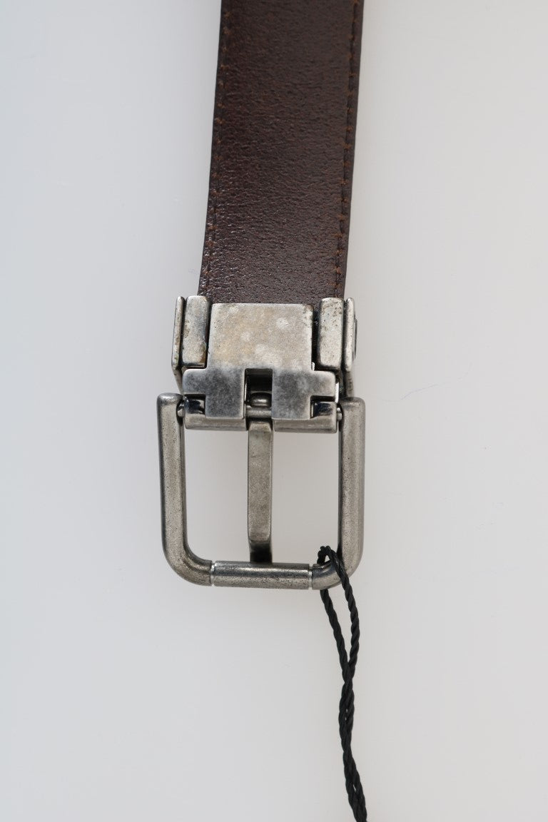 Brown Vintage Leather Silver Buckle Belt - EnModaLife.Com