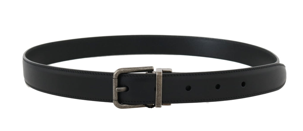 Black Leather Gray Brushed Buckle Belt - EnModaLife.Com