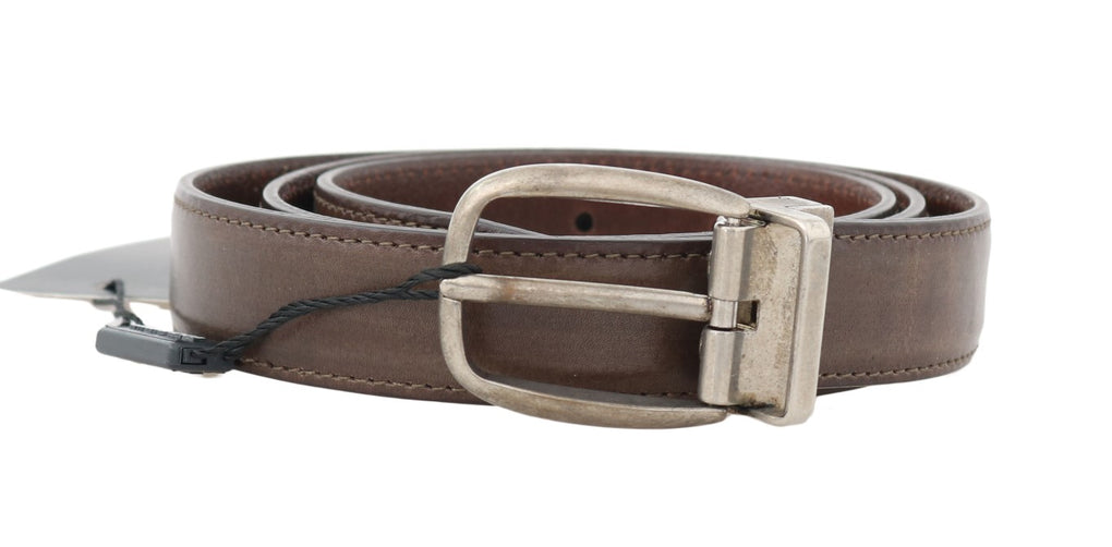 Brown Leather Gray Brushed Buckle Belt - EnModaLife.Com