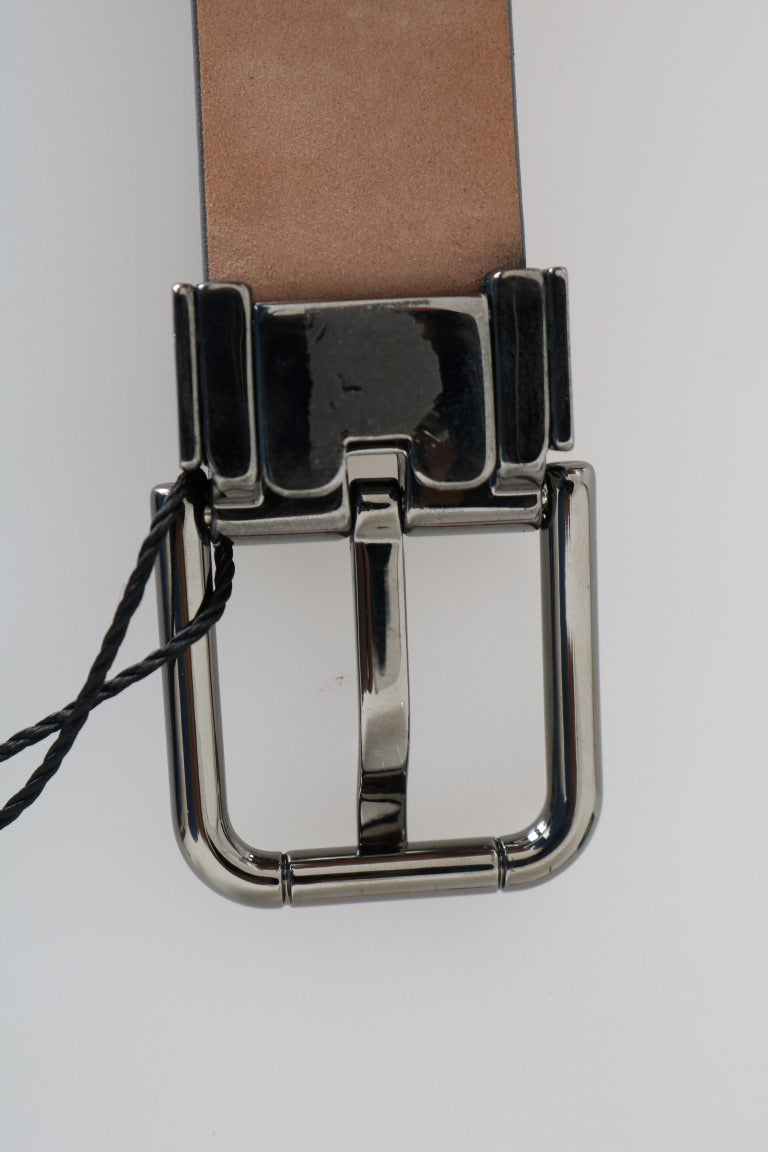 Gray Leather Silver Buckle Belt - EnModaLife.Com
