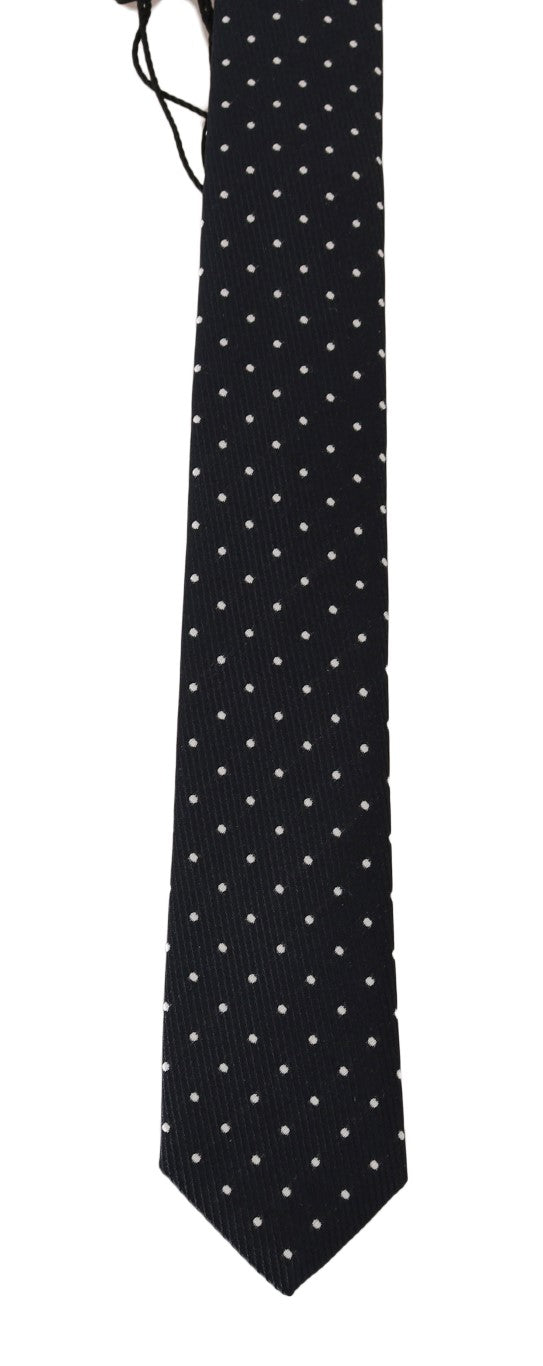 Blue Silk White Polka Dot Print Slim Tie - EnModaLife.Com