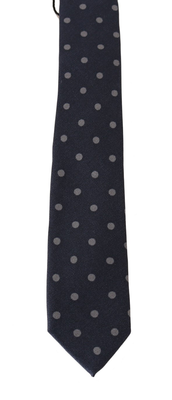 Blue Silk Gray Polka Dot Print Slim Tie - EnModaLife.Com