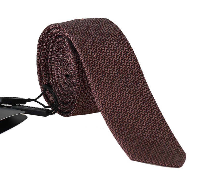 Bordeaux Silk Pattern Slim Tie - EnModaLife.Com